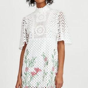 Zara lace dress medium embroidered